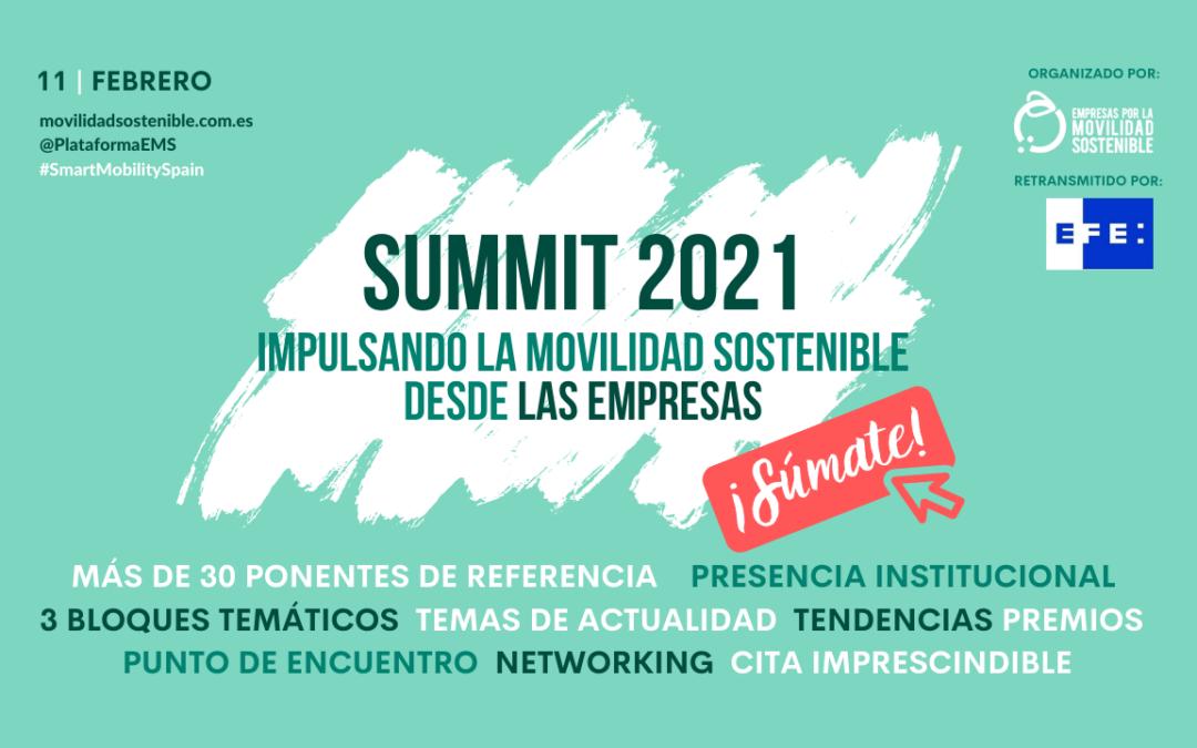 Inscríbete a nuestro evento anual  'SUMMIT 2021: Impulsando la Movilidad Sostenible desde las Empresas'